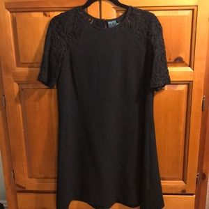 Black dress with lace short sleeves